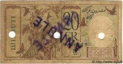 20 Francs au paon DJIBOUTI  1936 P.07a B à TB