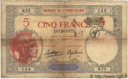 """5 Francs surchargé """"F.C."""" DJIBOUTI  1943 P.11 TB+ à TTB"""