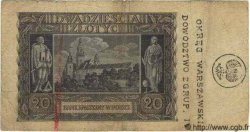 20 Zlotych surcharge POLOGNE  1944 P.(095) TB