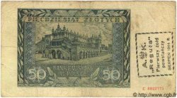 50 Zlotych surcharge POLOGNE  1944 P.(102) TB