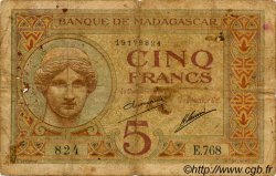 5 Francs MADAGASCAR  1940 P.35 B+