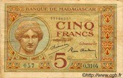 5 Francs MADAGASCAR  1940 P.35 TTB