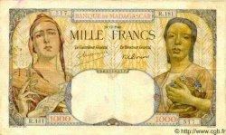 1000 Francs MADAGASCAR  1948 P.41 TB+ à TTB