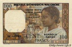 100 Francs - 20 Ariary MADAGASCAR  1961 P.52 SUP+