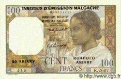 100 Francs/ 20 Ariary MADAGASCAR  1961 P.52 pr.NEUF