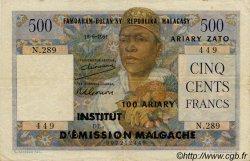 500 Francs - 100 Ariary MADAGASCAR  1961 P.53 TTB