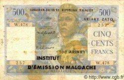 500 Francs/ 100 Ariary MADAGASCAR  1961 P.53 TB