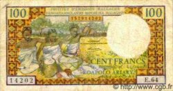 100 Francs - 20 Ariary MADAGASCAR  1966 P.57 TB