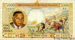 5000 Francs/ 1000 Ariary MADAGASCAR  1966 P.60 TTB