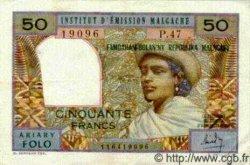 50 Francs/ 10 Ariary MADAGASCAR  1969 P.61 TTB+
