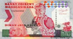 2500 Francs/ 500 Ariary MADAGASCAR  1993 P.75 NEUF