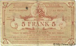 Bon De Guerre De 5 Francs BELGIQUE  1914 P.-- TB à TTB