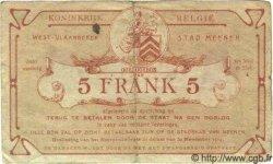 5 Francs BELGIQUE Menin 1914 P.-- TB à TTB