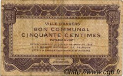 50 Centimes BELGIQUE  1915 P.-- TB