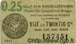 25 Centimes BELGIQUE Bruges 1917 P.-- pr.TB
