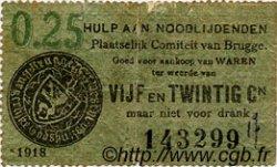 25 Centimes BELGIQUE  1918 P.-- pr.TB