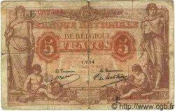 5 Francs BELGIQUE  1914 P.074a pr.TB