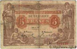 5 Francs BELGIQUE  1919 P.074b pr.TB