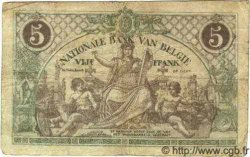 5 Francs BELGIQUE  1918 P.075b pr.TB