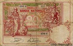 20 Francs BELGIQUE  1914 P.067 pr.TB