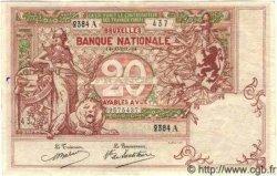 20 Francs BELGIQUE  1914 P.003A TTB+