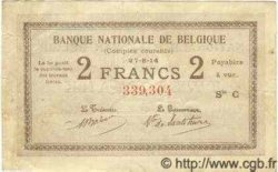 2 Francs Type Comptes Courants BELGIQUE  1914 P.017 TTB+