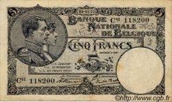 5 Francs BELGIQUE  1922 P.028 TB à TTB