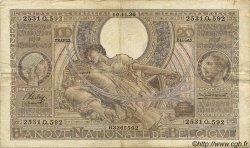 100 Francs= 20 Belgas BELGIQUE  1936 P.107 TB