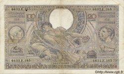 100 Francs= 20 Belgas BELGIQUE  1940 P.036 TB à TTB