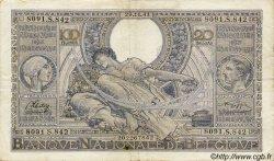 100 Francs= 20 Belgas BELGIQUE  1941 P.036 TTB
