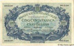 500 Francs - 100 Belgas BELGIQUE  1932 P.103 TTB