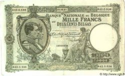 1000 Francs= 200 Belgas BELGIQUE  1937 P.042 TB