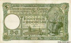 1000 Francs= 200 Belgas BELGIQUE  1942 P.043 TTB
