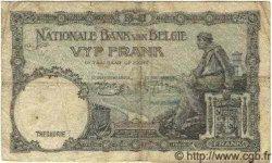 5 Francs surchargé sur le P.28 BELGIQUE  1938 P.047 B+