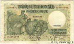 5 Francs surchargé sur le P.34 BELGIQUE  1937 P.050 B