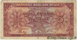 5 Francs - 1 Belga BELGIQUE  1943 P.121 TB