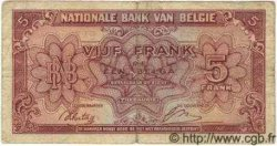 5 Francs = Un Belga Type Londres BELGIQUE  1943 P.051 TB