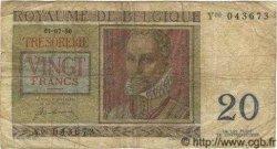 20 Francs BELGIQUE  1950 P.066a B à TB