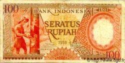 100 Rupiah INDONÉSIE  1958 P.059 pr.TTB