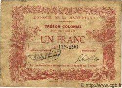 1 Franc MARTINIQUE  1884 P.02 TB+