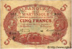 5 Francs Cabasson rouge MARTINIQUE  1933 P.06A TB à TTB