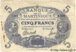 "5 Francs  Cabasson ""bleu"" MARTINIQUE  1945 P.--(06B) TB"