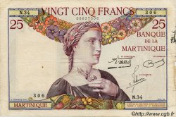 25 Francs MARTINIQUE  1938 P.12 TB