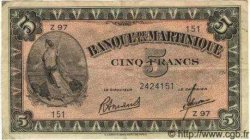 5 Francs Type 1942 MARTINIQUE  1945 P.16b TTB