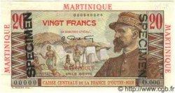 20 Francs Émile Gentil MARTINIQUE  1946 P.29s SPL