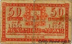50 Centimos ESPAGNE Alicante 1937 E.078 B+