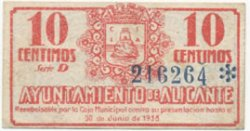 10 Centimos ESPAGNE Alicante 1937 E.078 TTB
