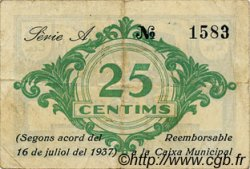 25 Centims ESPAGNE Balsareny 1937 C.072a TTB