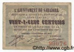 25 Centims  ESPAGNE Sabadell 1937 C.536a TB+