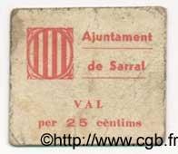 25 Centims ESPAGNE Sarral 1936 C.551a pr.TTB